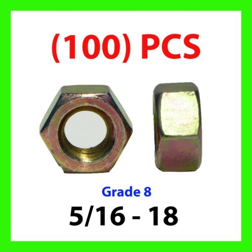 Qty 100 5//16-18 Grade 8 Finish Hex Nuts Yellow Zinc Plated Hardened