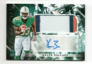 KALEN BALLAGE NFL 2018 PANINI ORIGINS AUTO MATERIAL RC (DOLPHINS,STEELERS,JETS)C