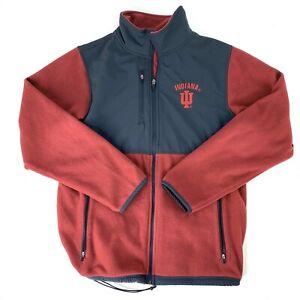 Indiana-University-Hoosiers-Mens-Medium-Red-Black-Fleece-Jacket-Colorblock