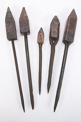 5 Old Soldering Iron Tools Graduated Lengths No Handles 'Electric Materials Co'