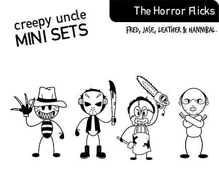My Creepy Family Horror Flicks Freddie Jason Funny Car Window Sticker Decal