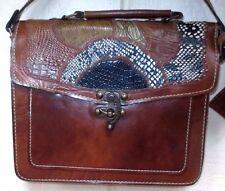 EUC Vintage Rare Unique Leather Hobo Patchwork Satchel Swing Lock Purse Handbag