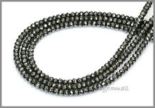 """15.5"""" Natural Hematite Rondelle Faceted Beads 4mm #85233"""