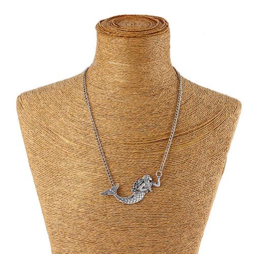 Tibetan Silver Large Mermaid Nautical Sea Ocean Charms Pendant Necklace 16-24/'/'
