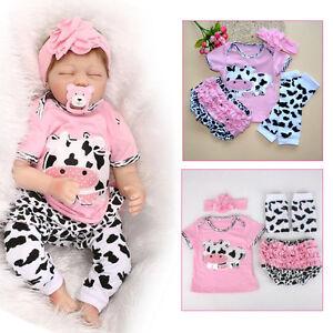 22/'/' Handmade Reborn Baby Girl Doll Clothing Cotton Pink Dairy Pants Set Gift