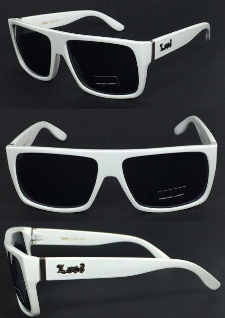 Locs Mens Cholo Bike Flat Top Square Black Shaded Lens Sunglasses - White LC81