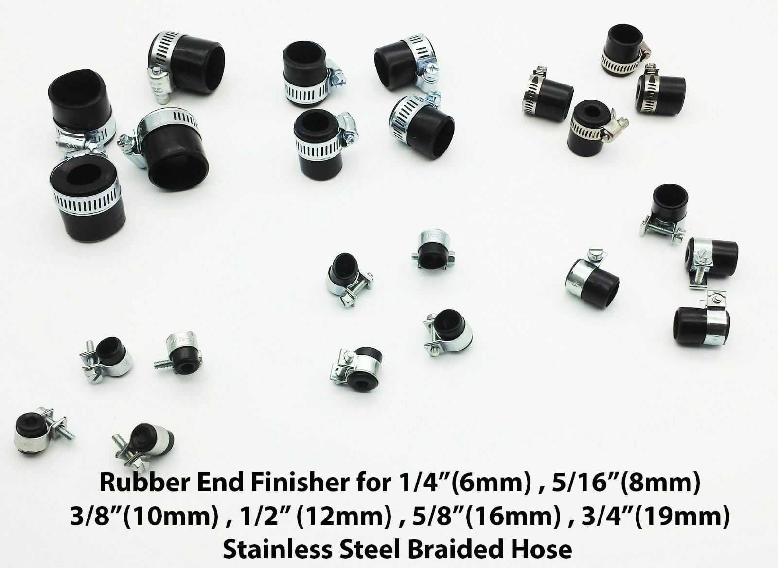 Braided Hose Rubber End Finisher with steel clips ALL SIZE FROM HOSE OD 9MM-28MM
