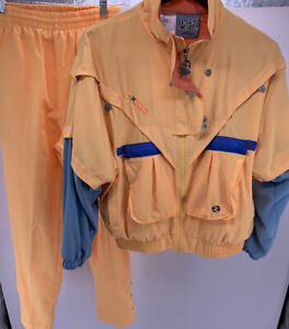 Vintage-Women-039-s-IXSPA-Yellow-2-Piece-Tracksuit-By-Jamie-Sadock-Size-S