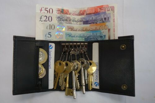 Leather Key Holder Wallet per sei tasti banconote monete e carte di credito