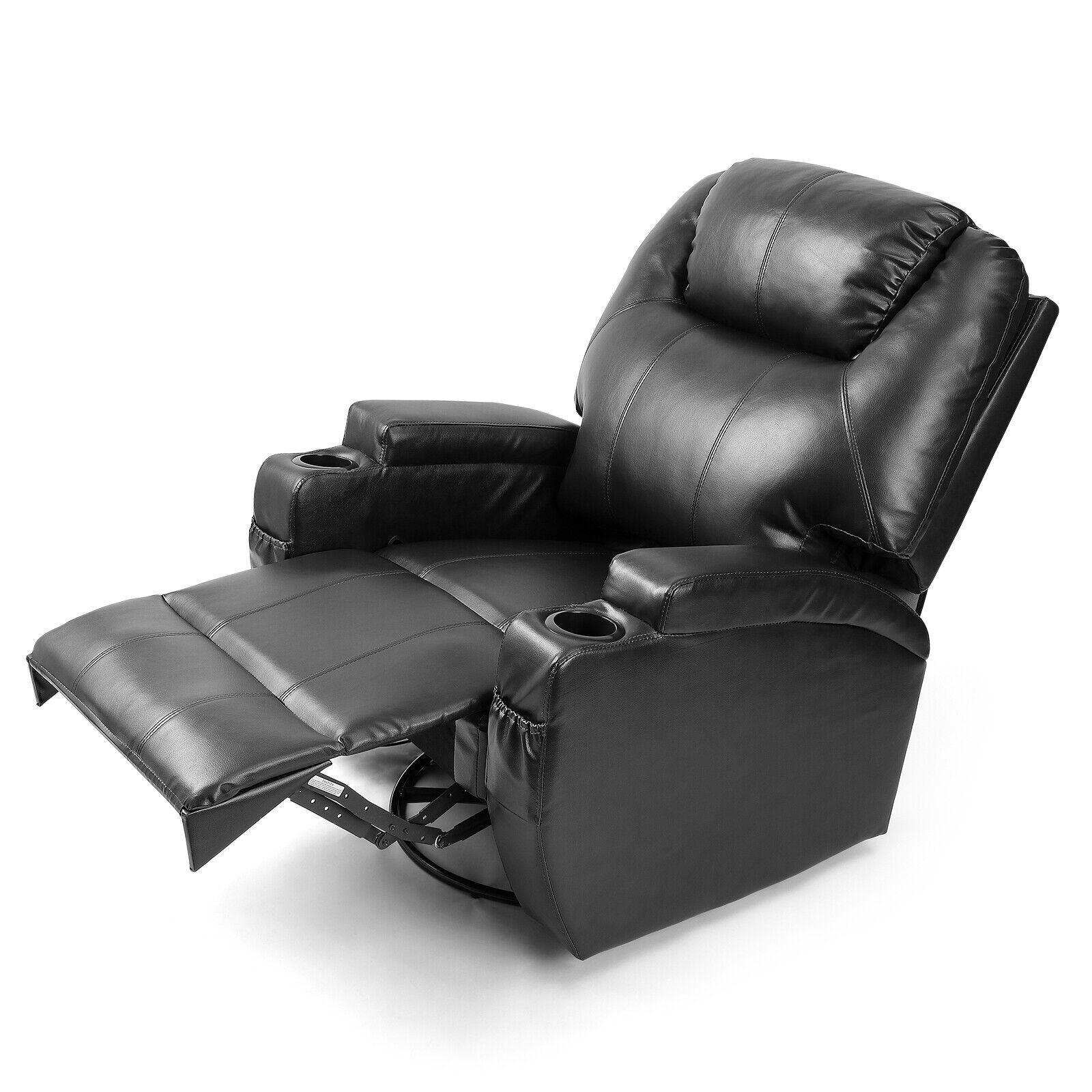 Astonishing Full Body Massage Recliner Chair Leather Vibrating Heat Lounge 3600 Swivel Black Short Links Chair Design For Home Short Linksinfo