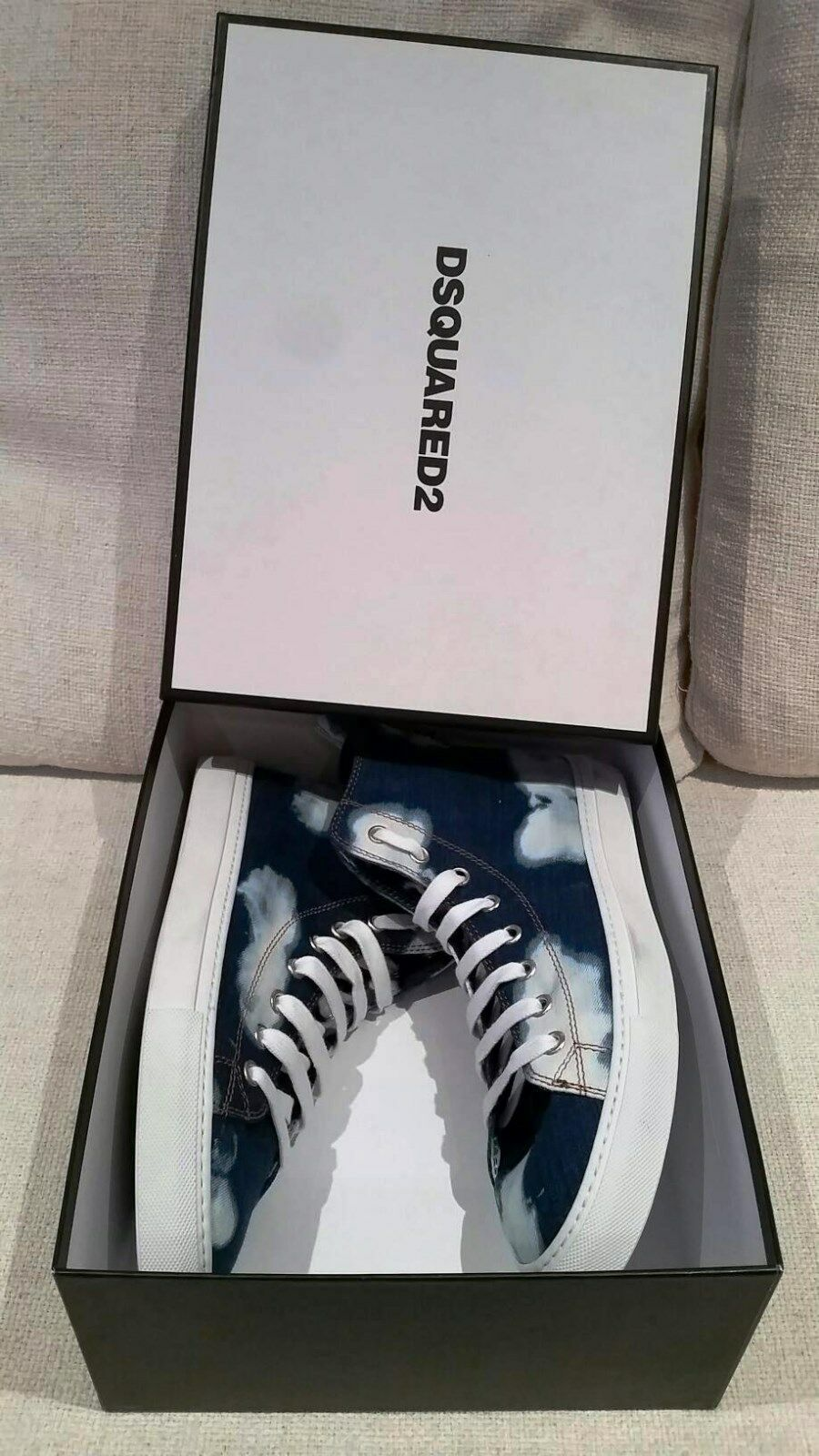 650 DSQUARED2 High Top BLEACHED Denim Lavato BASQUETTES lace SNEAKERS Shoes 44