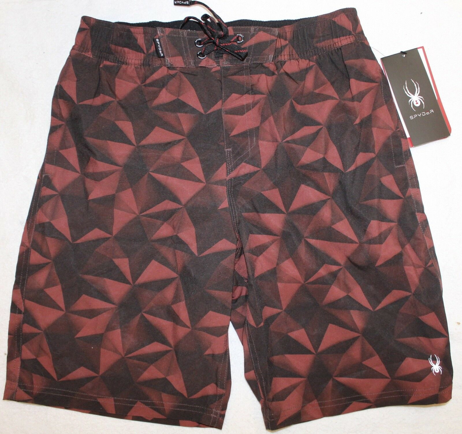 1c49f2f6eb SPYDER Mens Red Geometric Board Shorts Lined Bathing Suit Size S NWT ...