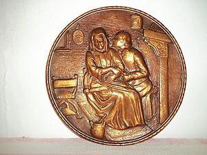"""Other Old Copper Wandteller-geprägt """" Liebespaar-paar """" 31cm"""