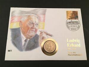 Rfa Numisbrief 1990 Ludwig Erhard Plaqué 2. - Dm Pièce U175-afficher Le Titre D'origine Valeur Formidable