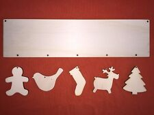 LONG CHRISTMAS PLAQUE with 5ornaments PLAIN UNPAINTED BLANK WOODEN HANGING CRAFT