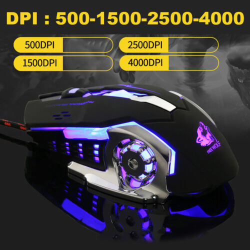 Wolf V5 Wired LED Backlit 4000DPI Optical Usb Ergonomic PC Laptop Gaming Mouse