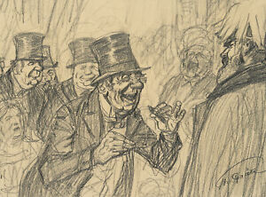 T.GRAETZ(*1859), Muntere Szene auf kaiserlichen Empfang, um 1914, Bleistift