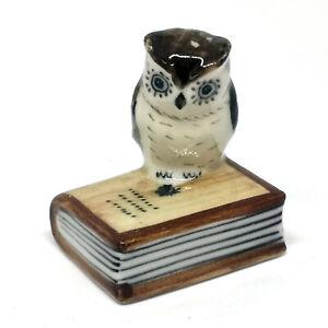 Snowy Owl Ceramic Figurine Miniature Handmade Collectible Souvenir White Owl