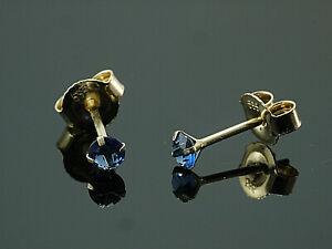 585-Gold-Ohrstecker-mit-4-Krappen-1-Paar-3-mm-Groesse-mit-echtem-Saphir