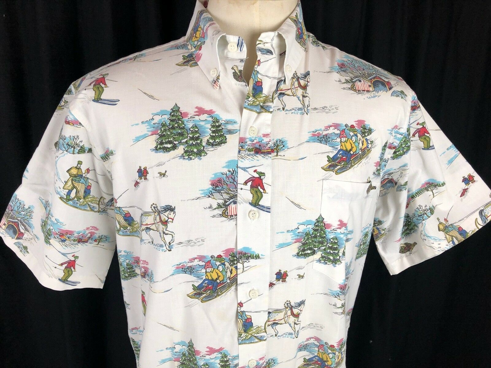 REYN SPOONER Vintage 1991 New England Snow Sledding White Christmas Shirt Sz L