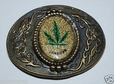 WOW Vintage JAMAICA Weed Pot Marijuana Leaf Belt Buckle Rare