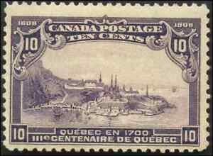 Canada-101-mint-F-VF-OG-NH-1908-Quebec-Tercentenary-10c-violet-Quebec-in-1700