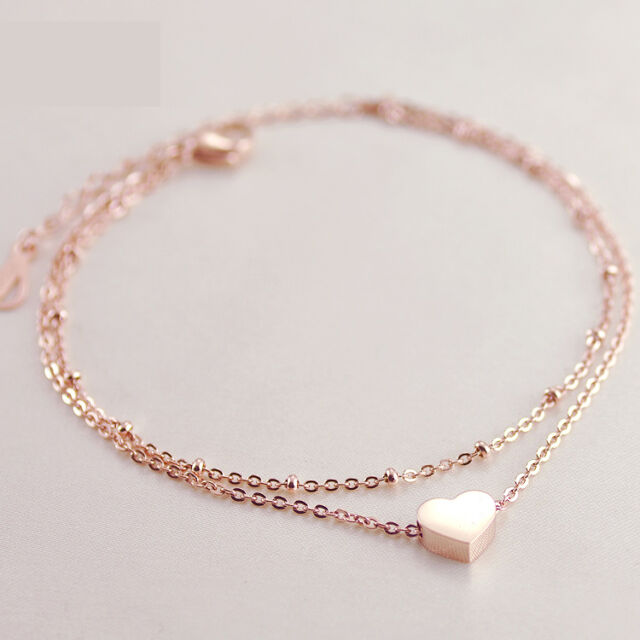 Sale One Pcs Gold Love Heart Ankle Bracelet Double Layer Chain Sexy Foot Anklet