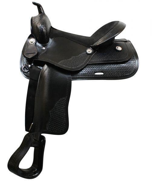 16  Economy western style saddle w suede leather seat & slightly rounded skirts