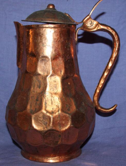 Vintage hand crafted copper jug pitcher