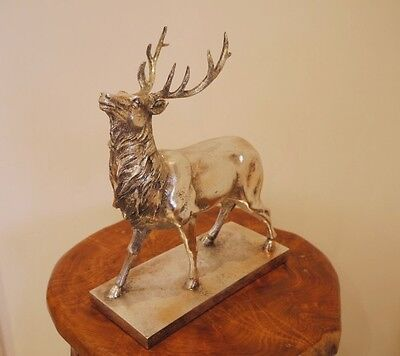 Stunning Large Silver Stag Deer Reindeer Antlers Ornament Statue Figure on Base