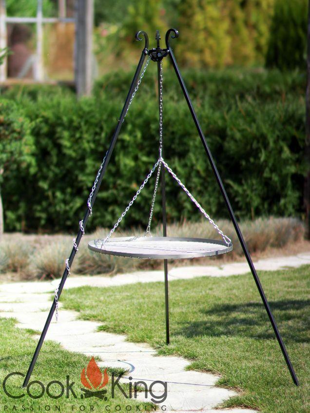 Schwenkgrill aus rohem Stahl 50 cm