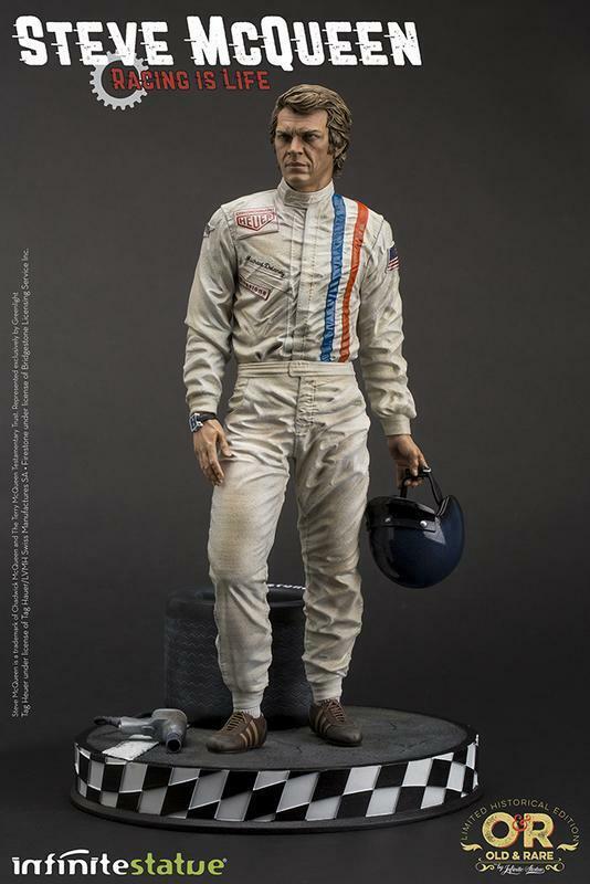 Steve mcqueen statuette old & rare racing is life 31 cm 24h le mans 664616
