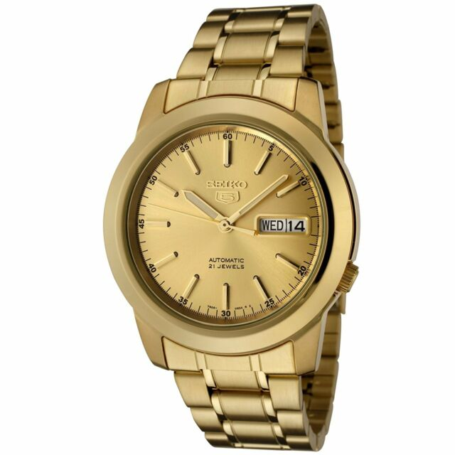 Seiko 5 SNKE56 Automatic Day-Date All Gold Stainless Steel Men's Watch SNKE56K1