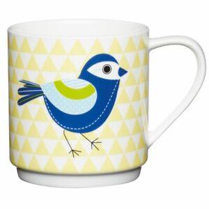 Kitchen-Craft-Becher-Tasse-Mug-Stapelbecher-Vogel-gelb-Neu