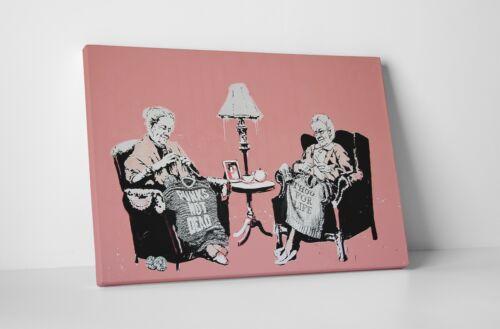 BONUS BANKSY DECAL! Banksy Punk and Thug Grannies Gallery Wrapped Canvas Art
