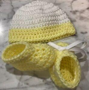 Handmade Crochet Baby Hat Booties Headband Shoes Newborn 0-3 month Pink Set Prem