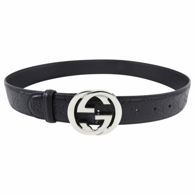 Gucci Black Guccissima Signature Monogram GG Buckle Belt - 85 / 34