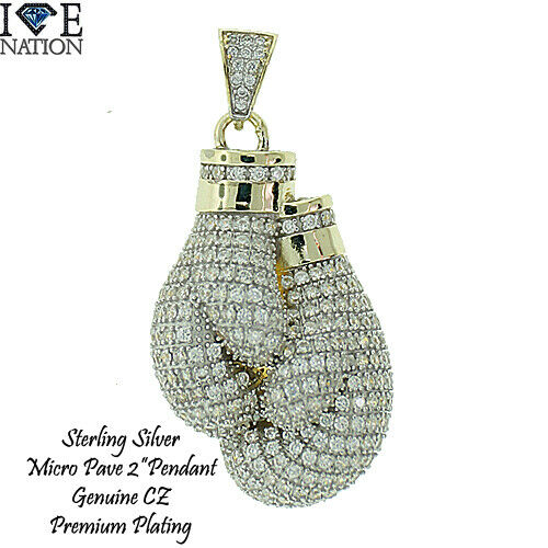 925 Real Silver Hip Hop Micro Pave CZ Boxing Gloves Pendant with Rope chain 3911