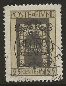 Fiume-1924-Roman-Arch-25c-Gray-amp-Buff-188-Fine-Used-CV-12-00