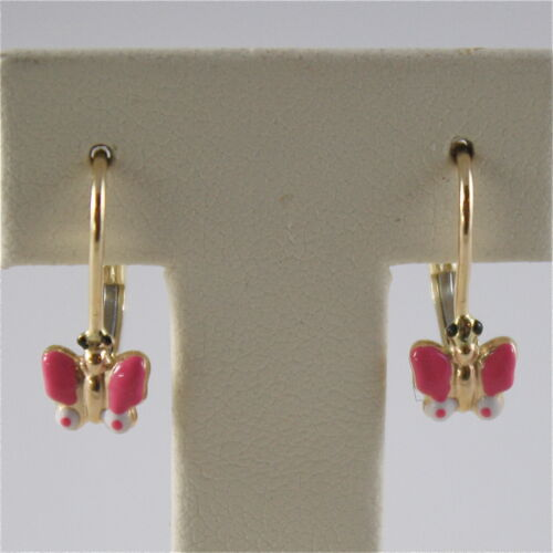 SOLID 18K YELLOW GOLD PENDANT LEVERBACK EARRINGS WITH BUTTERFLY MADE IN ITALY