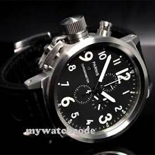 50mm Parnis black dial Big Face white marks full Chronograph quartz mens Watch