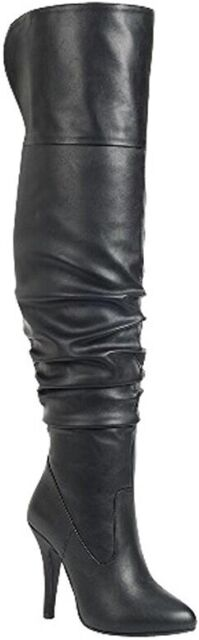 Womens Faux Leather Fold Over Slouchy Over The Knee Boots Winter Thigh High Boot