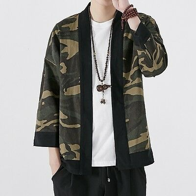 Mens Chinese Vintage Loose Japanese Kimono Yukata Jacket Cardigan Coat Hem Cape