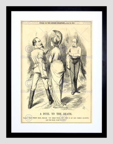THEATRE PUNCH LONDON CHARIVARL 1870 DUEL DEATH BLACK WHITE FRAMED PRINT B12X7789