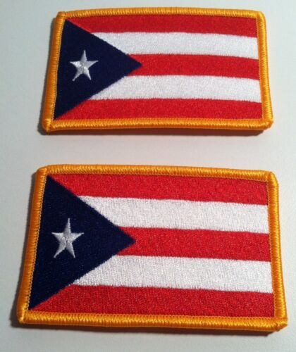 2 Puerto Rico Flag Iron-On Patch Boricua Tactical Morale Emblem Embroidered