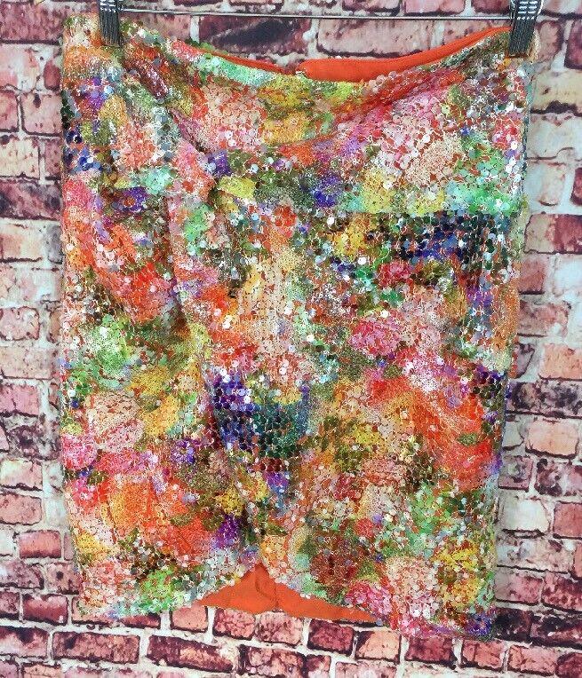 Nicole Miller Artelier Orange Grün Sequined Faux Wrap Straight Skirt Größe 10