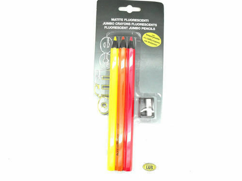 12 x Sets Mondial LUS Jumbo Neon Fluorescent Colouring Crayons Pencils Sharpener