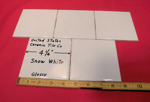 5 Pcs Glossy Ceramic Tiles Snow White 4 1 4 From The 1990 S Made U S A Ebay
