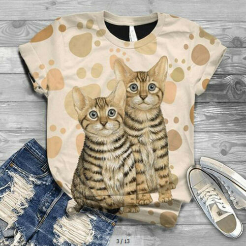 Plus Size Women Short Sleeve Cat Printed O-Neck Top Tee Casual T-Shirt Blouse UK