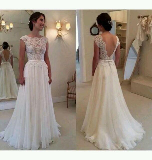 White Ivory Cap Sleeve Lace Wedding Dress Bridal Gown Size 6 18 Uk Ebay